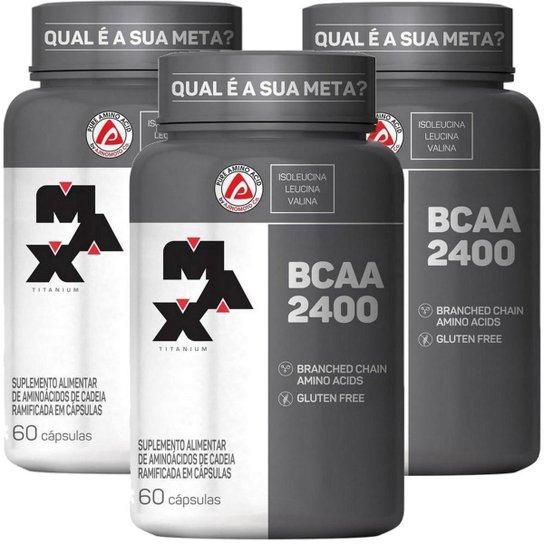 Kit 3x Bcaa 2400 (60 Caps) Max Titanium (total 180 Caps) -