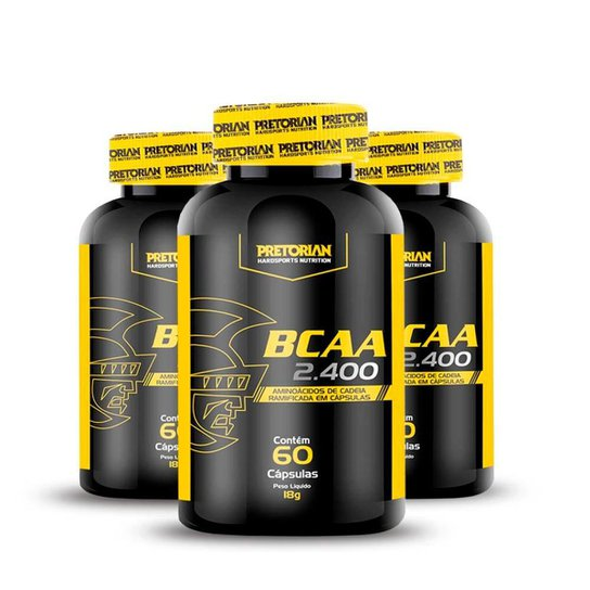 Kit 3x BCAA 2400 60 caps - Pretorian -
