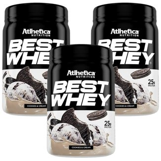 Kit 3X Best Whey - 450g Cookies&Cream - Atlhetica Nutrition