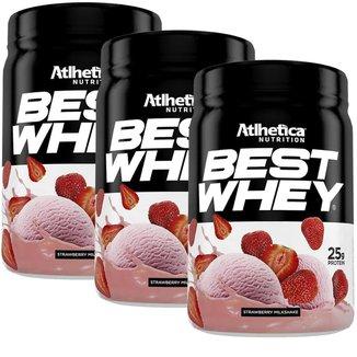 Kit 3X Best Whey - 450g Strawberry Milkshake - Atlhetica Nutrition