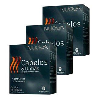 Kit 3X Cabelos e Unhas Nuova de 60 Cáps Catarinense Pharma