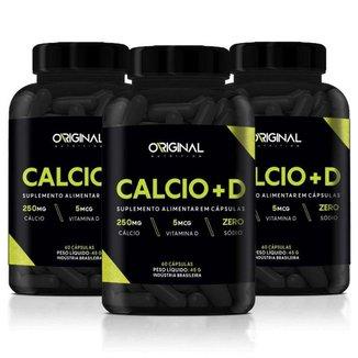 Kit 3x Calcio + D 60 Cáps - Original Nutrition