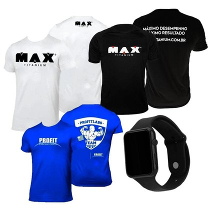 Kit 3x Camiseta Max Titanium Preta + Branca + Azul Pro Fit + Relógio