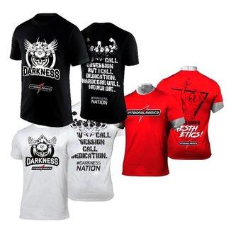Kit 3x Camiseta Preta + Branca + Vermelha Integralmédica Darkness e Zyzz