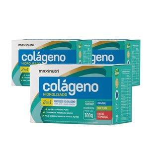 Kit 3x Colágeno Hidrolisado 2 em 1 com 3 Cx. Sabores Sortidos 30Unx10g - Maxinutri