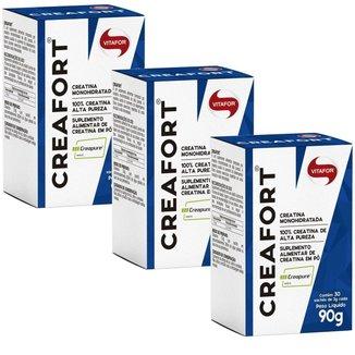 Kit 3X Creafort Creapure Creatina - 30 Sachês 3g - Vitafor