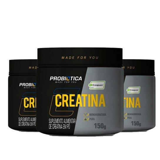 Kit 3x Creatina Creapure Probiótica Pote 150g -