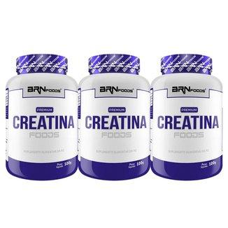 kit 3x Creatina foods 100% 100gr - BRNFOODS