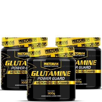 Kit 3x Glutamina Power Guard  300g - Pretorian