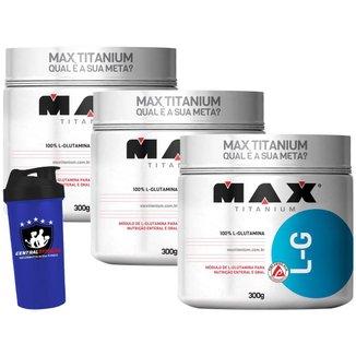 Kit 3x Glutamine LG 300g - Max Titanium + Coqueteleira