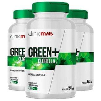 Kit 3x Green+ Clorella  100 Cápsulas  Clinic Mais