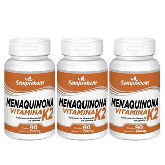 Kit 3x Menaquinona Vitamina K2 Semprebom 90 Cap. de 240 mg.