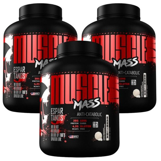 Kit 3x Muscle Mass Hipercalórico 3000g  Espartanos -