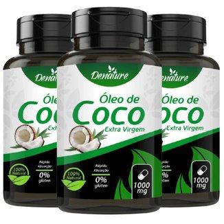 KIT 3X Óleo de Coco Extra Virgem 1000mg 100 Cáps - Denature