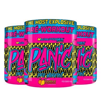 Kit 3x Panic Pre-Workout Manga e Laranja 450g, Adaptogen
