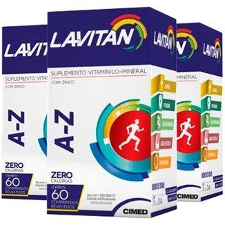 Kit 3x Polivitamínico  60 Comprimidos Lavitan A-Z Cimed