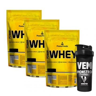 Kit 3x Power Whey Refil mais Coqueteleira Vem Monstro