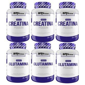 KIT 3x PREMIUM Creatina 100g + 3x PREMIUM Glutamina 100g - BRN Foods
