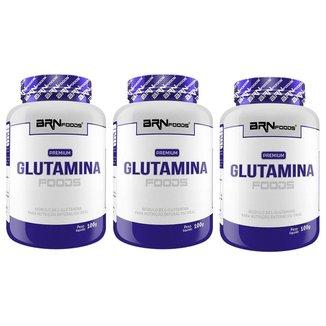 KIT 3x PREMIUM Glutamina 100g - BRN Foods