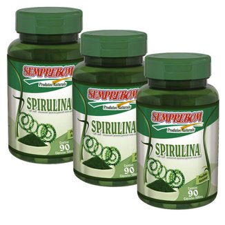 Kit 3X Spirulina - Semprebom 90 cap - 500 mg