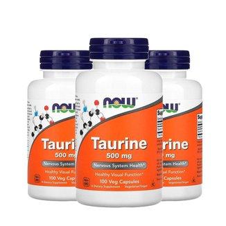 Kit 3x Taurina, Now Foods, 500 mg, 100 Cápsulas, Importado