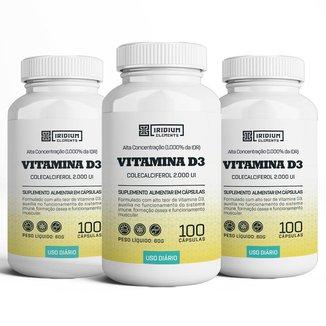 Kit 3x Vitamina D3 2000UI - Iridium Elements