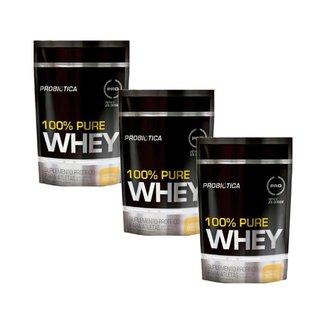 Kit 3x Whey Protein 100% Pure Whey Probiótica Refil 825g