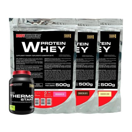 KIT 3x Whey Protein 500g - Sabor BAU - CHO - MOR + 1x Thermo Limão 120g - Bodybuilders