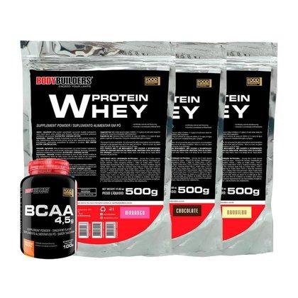 KIT 3x Whey Protein 500g - Sabor BAU - CHO - MOR + BCAA 100g - Bodybuilders