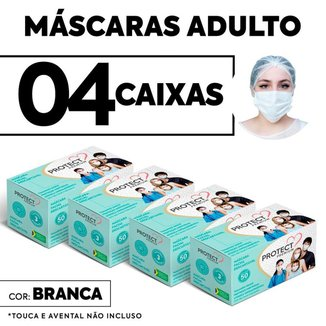 Kit 4 caixas Mascara Descartavel Cirurgica Branca c/50 cada