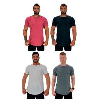Kit 4 Camiseta Longline MXD Conceito Slim Cores Básicas e Mescladas Lisas