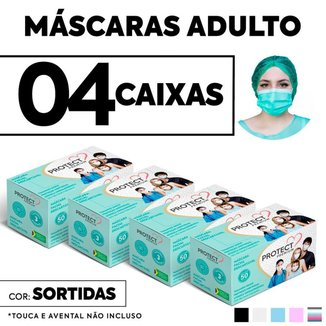 Kit 4 CX Mascara Descartavel Cirurgica Cor Sortida c/50 Und