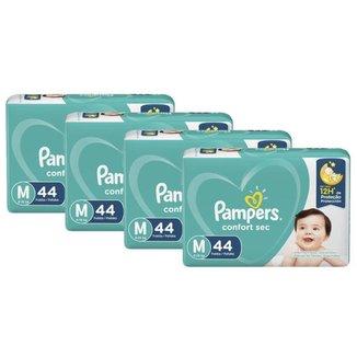 Kit 4 Fralda Pampers Confort Sec Tamanho M com 176 unidades