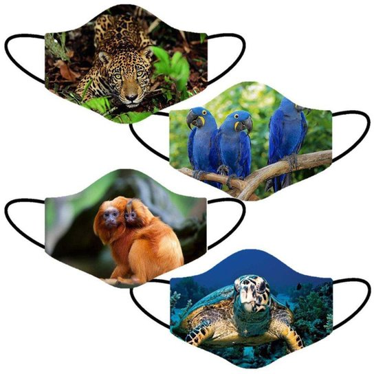 Kit 4 Mascara Lavavel Personalizada Estampa Animais Natureza Tecido Duplo - Verde Claro+Amarelo