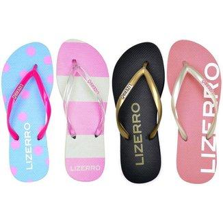 Kit 4 Pares Chinelo Lizerro Fashion Feminino