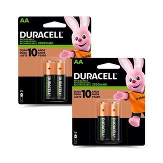 Kit 4 Pilhas Duracell Alcalina AA Recarregável