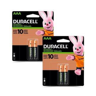 Kit 4 Pilhas Duracell Alcalina AAA Recarregável