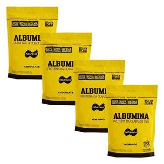 Kit 4X Albumina - 500g Refil 2 Morango e 2 Chocolate - Naturovos