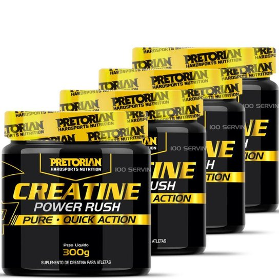 Kit 4x Creatina Power Rush 300g - Pretorian -