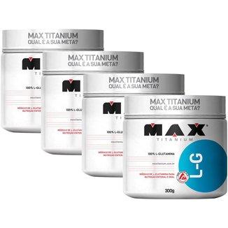 Kit 4x Glutamina 100% Pura - 300g - Max Titanium