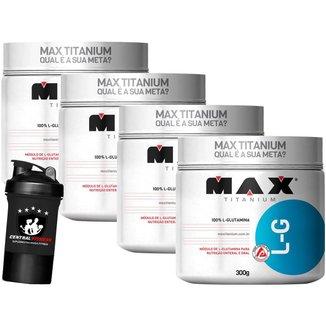 Kit 4x L-Glutamina 300g + Coqueteleira - Max Titanium