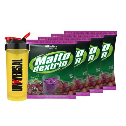 Kit 4x Maltodextrin 1kg - Atlhetica + Coqueteleira - Universal