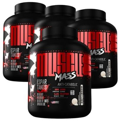 Kit4x Muscle Mass Hipercalórico 3000g - Espartanos