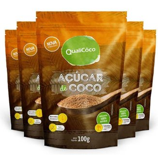 Kit 5 Açúcar de coco natural Qualicôco 100g
