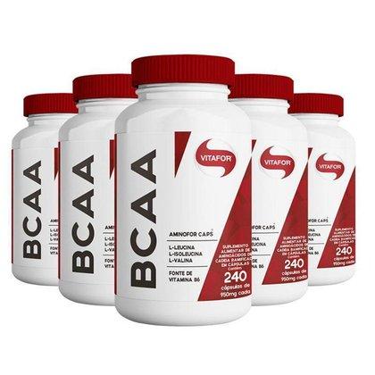 Kit 5 Aminofor BCAA Vitafor 240 cápsulas