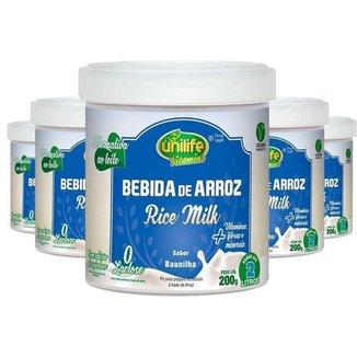 Kit 5 Bebida de Arroz sem Lactose Vegan Unilife 200g