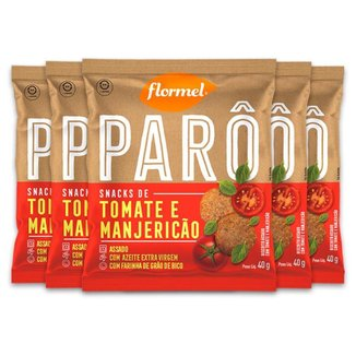 Kit 5 Biscoito de Polvilho Tomate e Manjericão Parô Flormel 40G