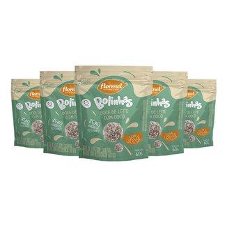 Kit 5 Bolinhas Flormel zero Lactose 60g - Doce de leite c/coco