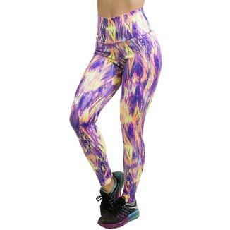 Kit 5 Calça Legging Feminina Cós Alto Cintura Alta Estampada Ginástica Fitness