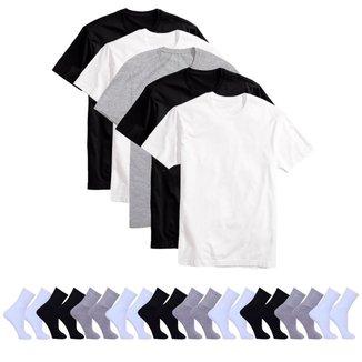 Kit 5 Camisetas Básicas Masculina T-Shirt Algodão + 10 Pares De Meias